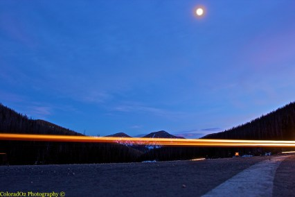 Slow Shutter of Car Whizzing by at 10,249 feet - Cameron Pass!