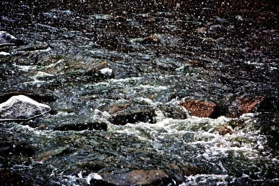 Snow over Estes Park creek