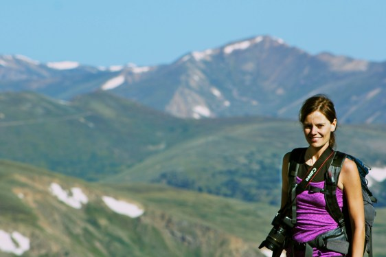 My beautiful cousin with some beautiful mountains! :)