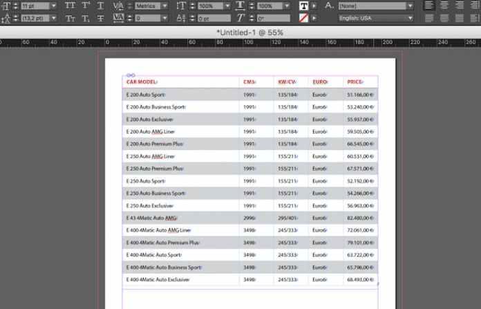 Excel dosyasını InDesign'a aktarma: içe aktarılan tablo
