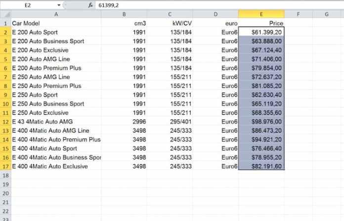 Excel dosyasını InDesign'a içe aktarma: güncellenmiş tablo $