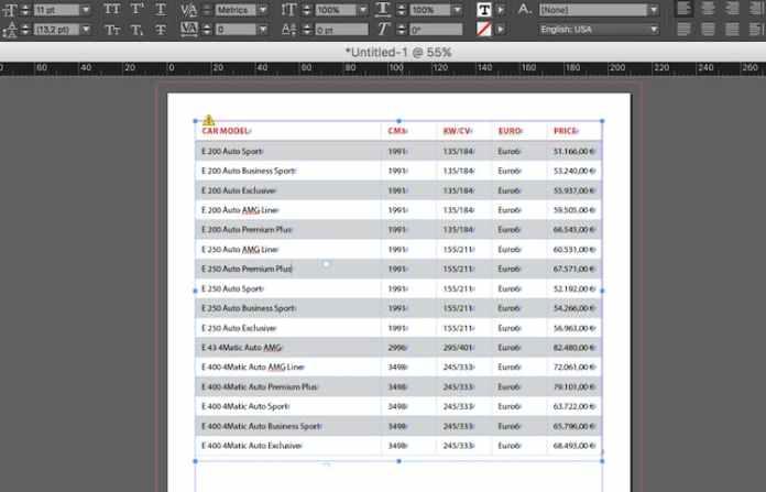 Excel dosyasını InDesign'a aktarma: uyarı üçgeni