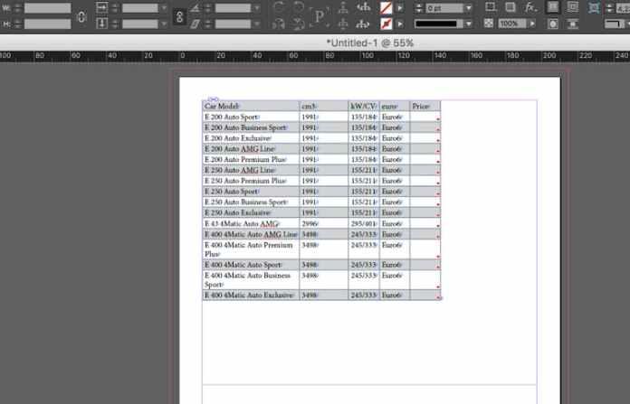 Excel dosyasını InDesign'a aktarma: alternatif arka plan deseni