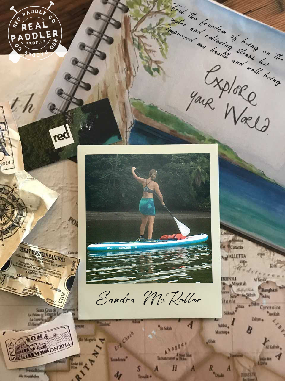 Woman paddle boarding diary