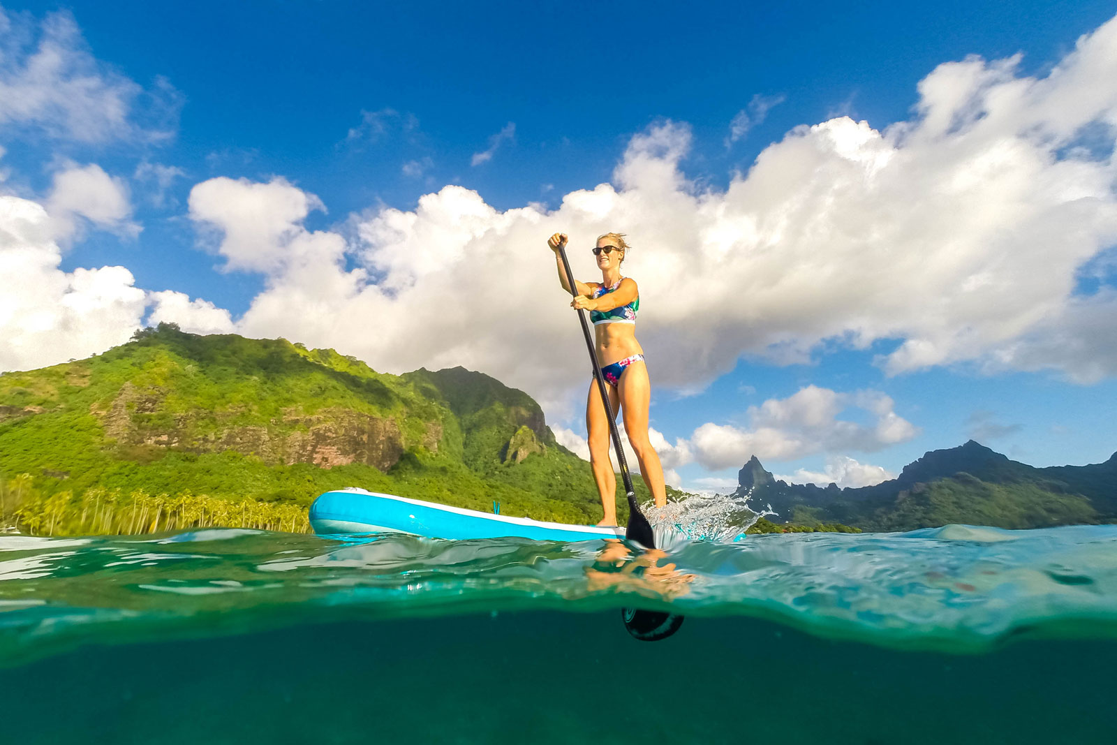 Paddle boarding in pacific