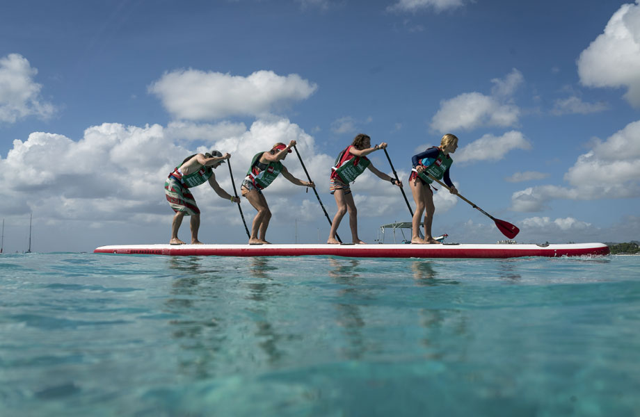 family of four on a 22ft paddle board together