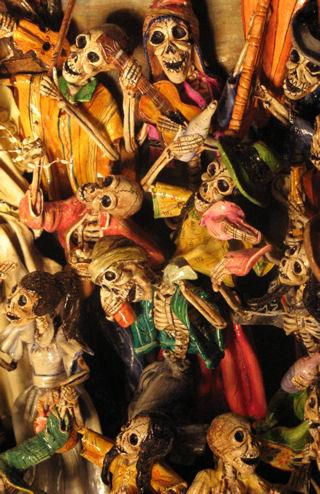 Death Dancing Drunk, detail from retablo by folk artist and santero Claudio Jimenez, photo © 2007 by ybonesy, all rights reserved