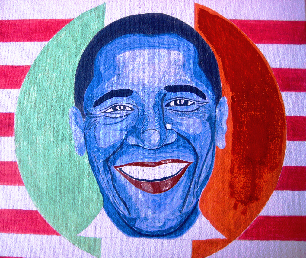 Never working with watercolor on canvas, I'm afraid to make mistakes. I notice when I'm bold with color, I end up going too dark, such as the brick red portion of the circle behind Obama.