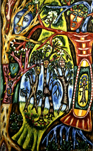 "Corparboreal 26, mixed media on wood, 14"" x 9"", 1999, painting © 1999-2009 by Cathy Wysocki, all rights reserved"