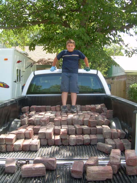 Here's my son David with all the bricks.