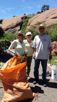 Sue, Joan, and Jim and their weed collection. May 30, 2015.