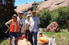 May 30, 2015. More dedicated volunteers: Sue, Jack, Joan, and Jim spent the morning weeding. Again.