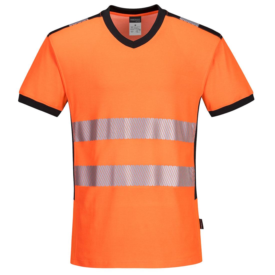 Portwest Hi-Vis V-Neck T-shirt - Orange/Black