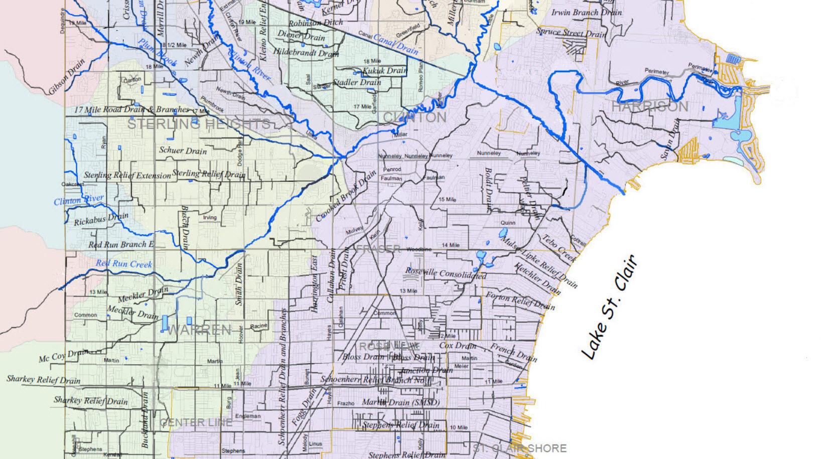 Warren Macomb And Gis Drain Maps Red Run
