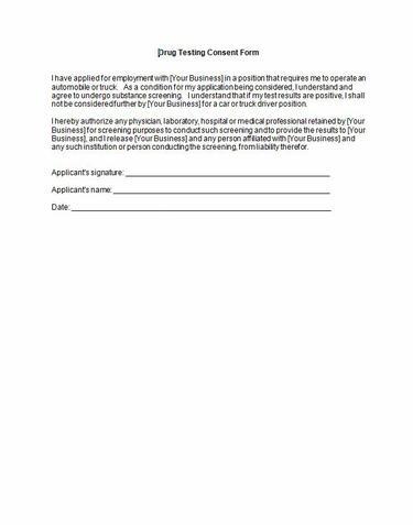 Sample Drug Testing Employee Consent Form Redshelf