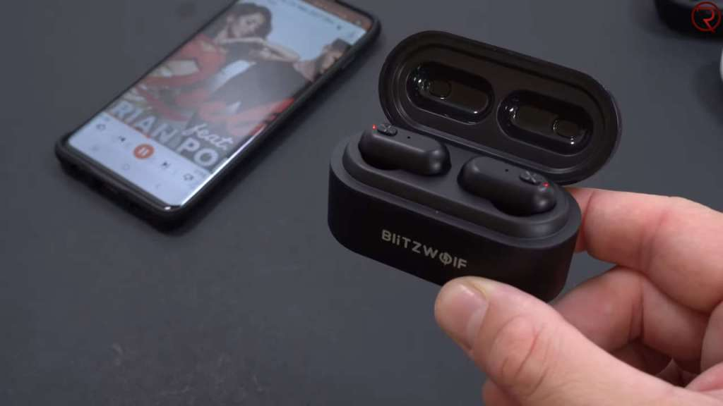 Blitzwolf BW-FYE7 wireless earbuds in a charger box