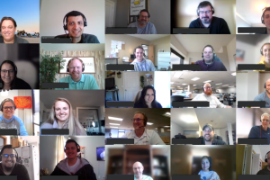 RedStone Logistics employees smiling in a Microsoft Teams meeting