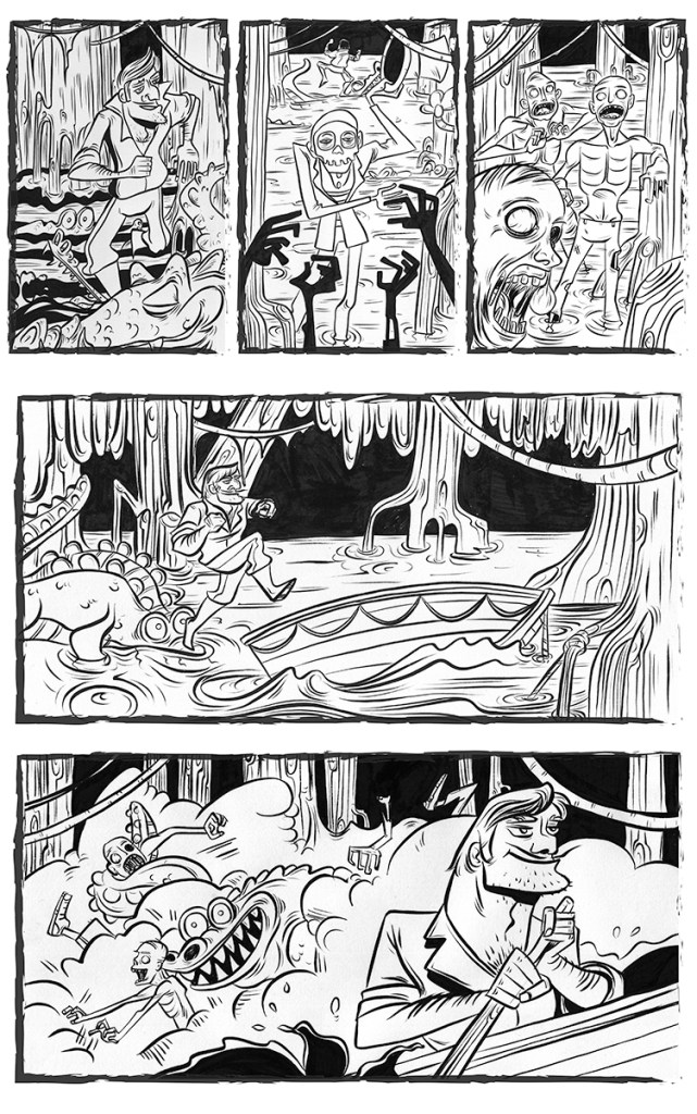 "inked page from, ""Lazy Sunday,"" art by Cloidhna Ztoical, written by Josh Hechinger. inspired by ""Lazing on a Sunday Afternoon."""