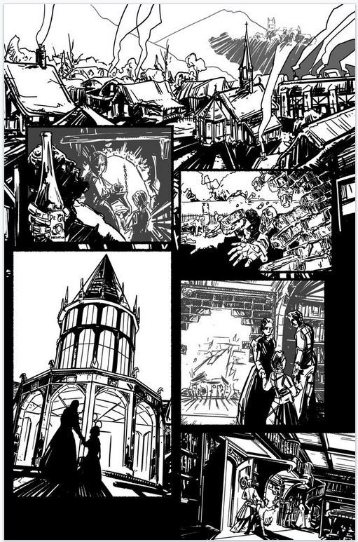 House of Montresor, inked page 2, by Enrica Jang and Jason Strutz