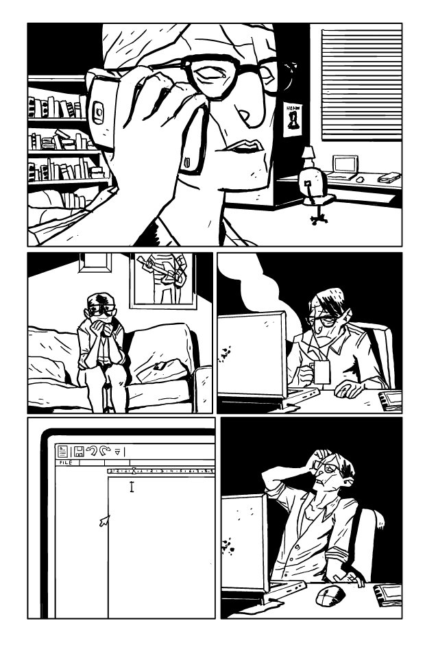 "Inked page from ""Typewriter Blues"", by Mad Moll Green and Victor Moura"