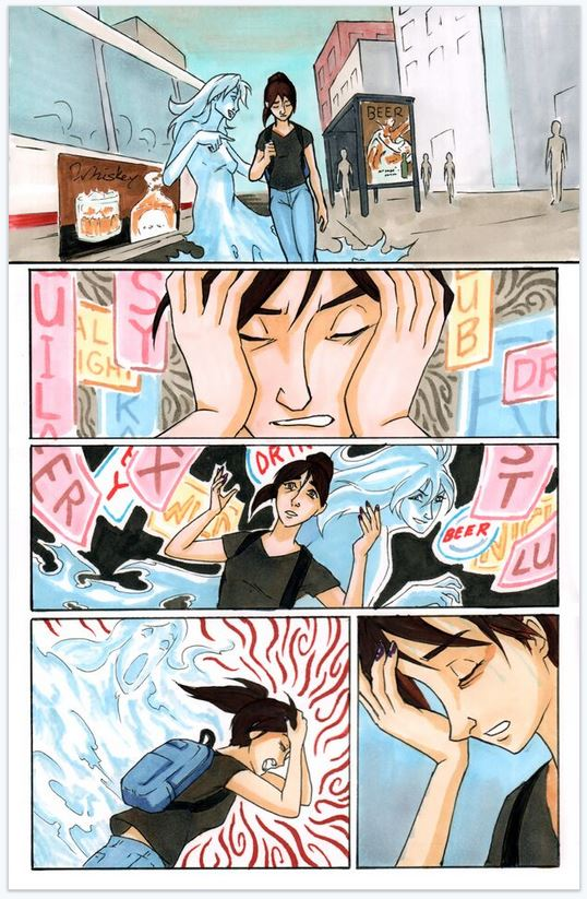 "color page from ""My Mind Is a Safe"" story by Ashley Leckwold and Chris Liu, inspired by Amy Winehouse"