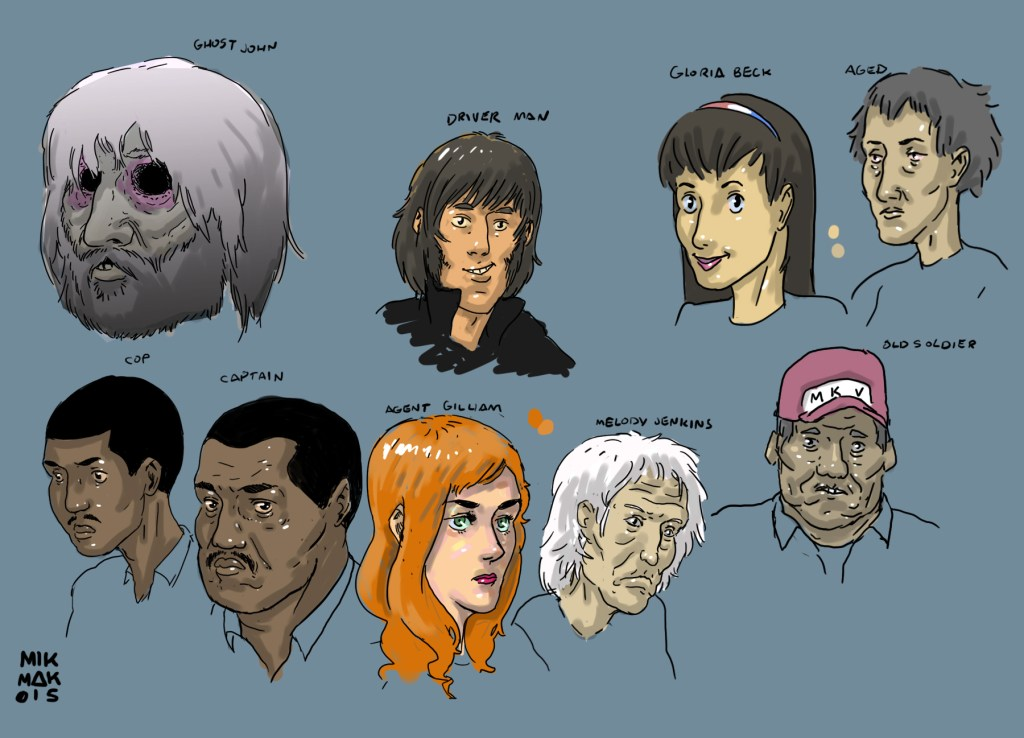 "character concepts from ""Riders On the Storm"" story by Scott Bachmann and Mikhail Hardy, inspired by Jim Morrison and The Doors"