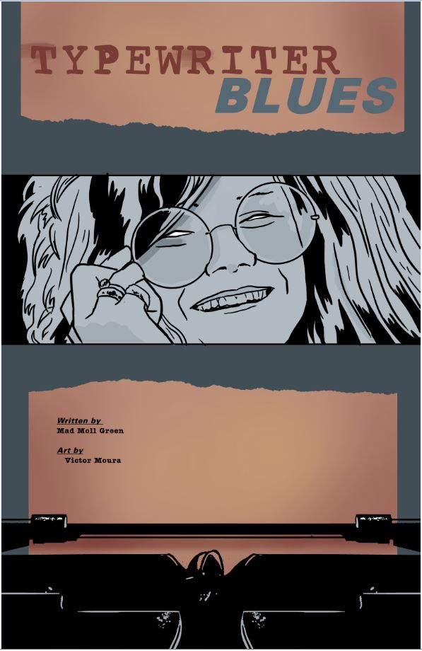 "Cover for ""Typewrite Blues"" by Mad Moll Green and Victor Moura, inspired by Janis Joplin"