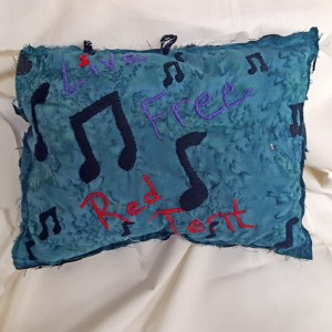 Live Free Red Tent Musical Note Pillow