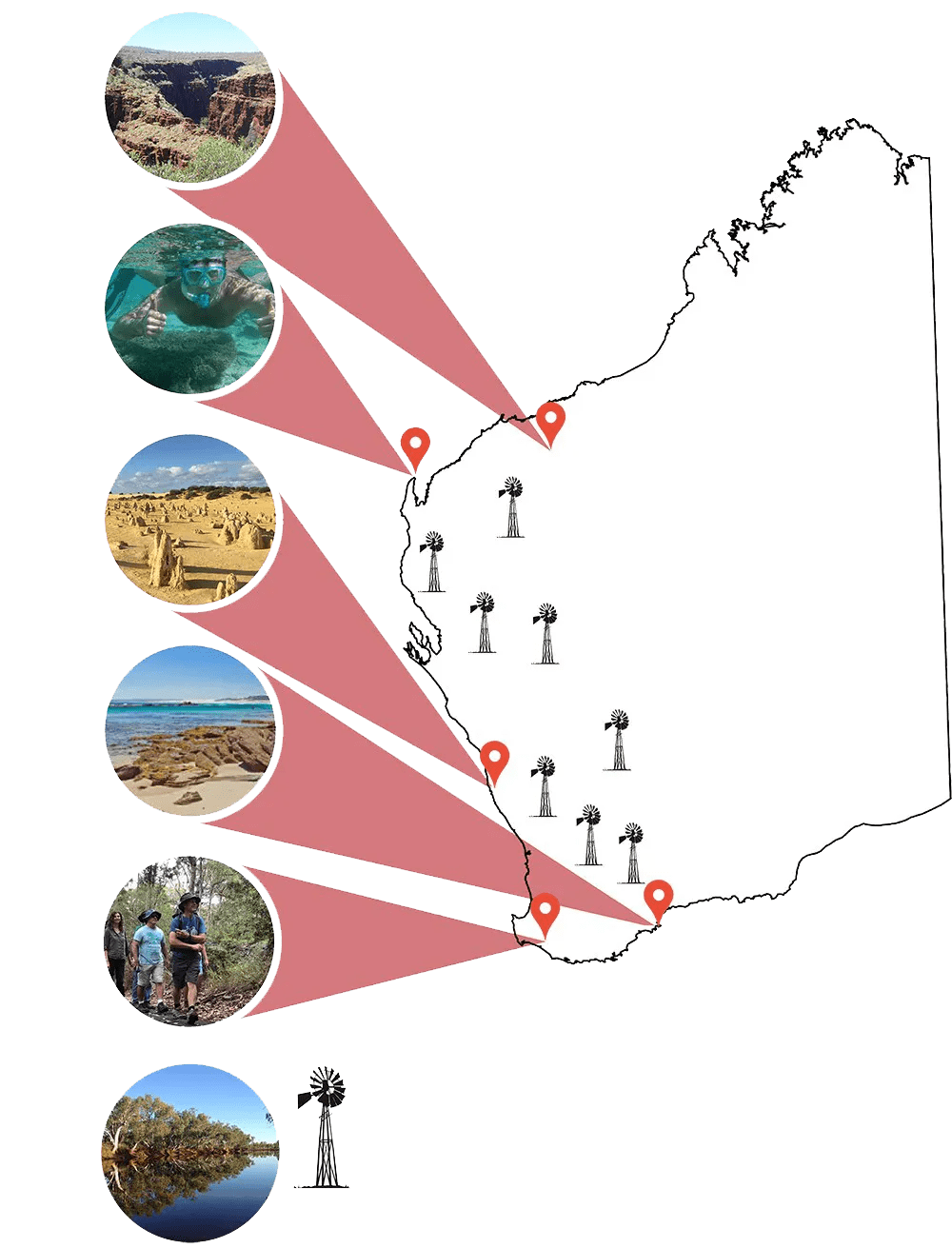 Red Track Touring Destination Map