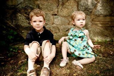 Mr. J's dark top with khaki's flattered his pale skin, while little sister M's pastel patterned dress was complemented by the wood and stone surroundings.