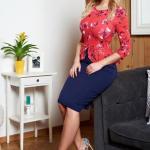 Rochie Albastru-inchis StarShinerS Cu Volanas In Talie Si Imprimeu Floral