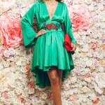 Rochie asimetrica PrettyGirl verde cu maneci clopot