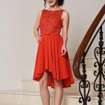 Rochie de ocazie StarShinerS rosie in clos cu imprimeu floral