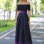 Rochie eleganta in clos Artista mov din material satinat