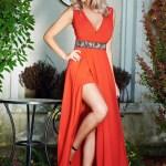 Rochie StarShinerS rosie de ocazie petrecuta cu decolteu in v