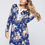 Rochie MissQ albastru-inchis asimetrica cu croi larg