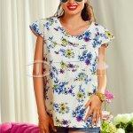 Bluza Alba cu Imprimeuri Florale