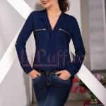 Bluza bleumarin din voal cu fermoare la piept