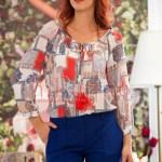 Bluza lejera de vara cu imprimeu colorat si ciucuri la gat
