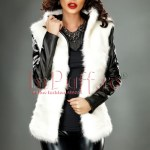 Jacheta dama cu blana alba si maneci din piele ecologica