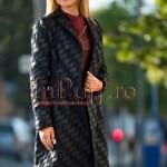 Palton dama brocard bleumarin