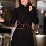 Palton dama de stofa neagra cu volane