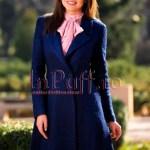 Palton dama elegant trei sferturi lana bleumarin