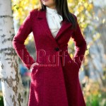 Palton dama elegant trei sferturi lana bordo