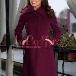 Palton dama mov elegant de stofa