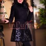 Palton dama negru cu aplicatii florale din piele