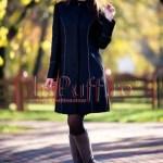 Palton dama negru cu insertii de piele ecologica