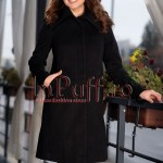 Palton dama negru elegant de stofa