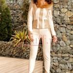 Pantaloni dama bej din piele intoarsa si insertie piele ecologica