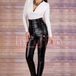 Pantaloni dama negri piele ecologica cu talie inalta